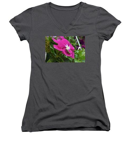 Women's V-Neck T-Shirt (Junior Cut) featuring the photograph Ailanthus Webworm Moth Visiting My Garden by Verana Stark