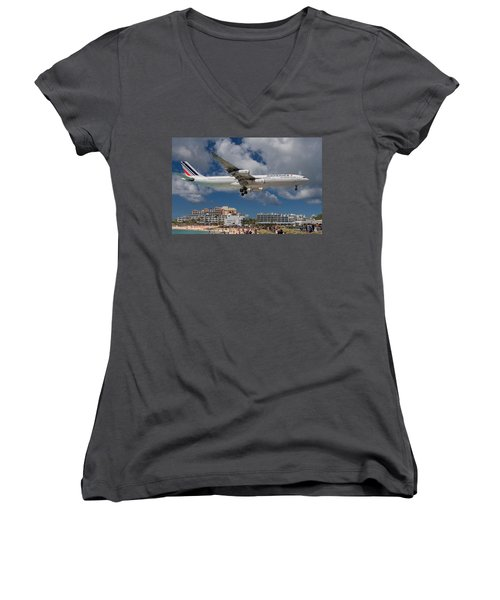 Air France Landing At St. Maarten Women's V-Neck (Athletic Fit)