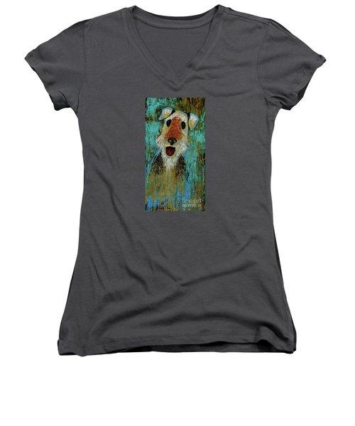 Airedale Terrier Women's V-Neck T-Shirt (Junior Cut) by Genevieve Esson
