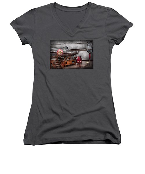 Airplane - The Repair Hanger  Women's V-Neck