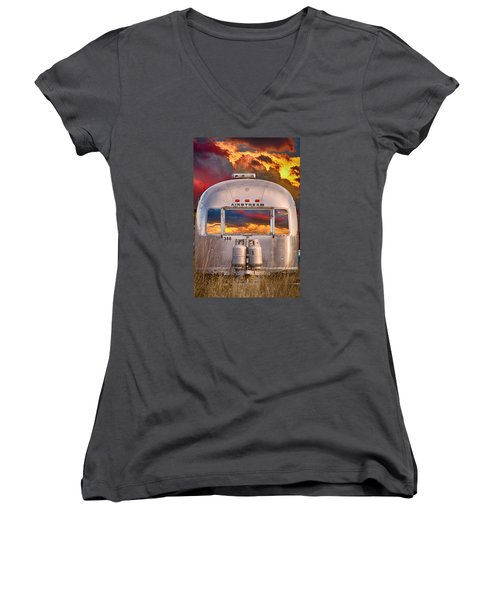 Airstream Travel Trailer Camping Sunset Window View Women's V-Neck (Athletic Fit)