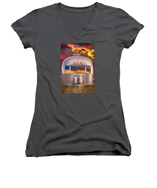 Airstream Travel Trailer Camping Sunset Window View Women's V-Neck T-Shirt (Junior Cut)