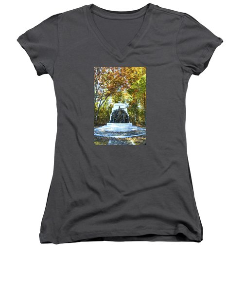Alabama Monument At Gettysburg Women's V-Neck T-Shirt (Junior Cut) by Paul W Faust -  Impressions of Light