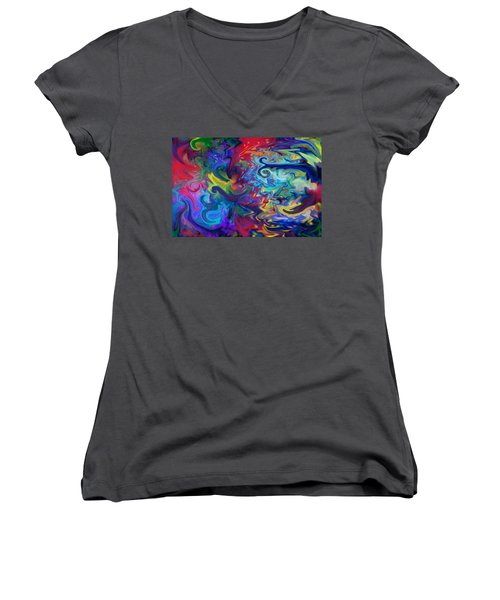 Women's V-Neck T-Shirt (Junior Cut) featuring the digital art Aladdin's Lamp by Peggy Collins