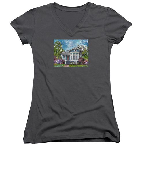 Women's V-Neck T-Shirt (Junior Cut) featuring the painting Alameda 1884 - Eastlake Cottage by Linda Weinstock