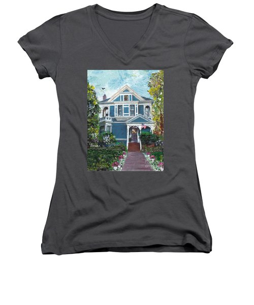 Women's V-Neck T-Shirt (Junior Cut) featuring the painting Alameda 1887 - Queen Anne by Linda Weinstock