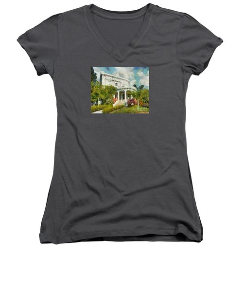 Alameda 1896-97 Colonial Revival Women's V-Neck T-Shirt (Junior Cut) by Linda Weinstock