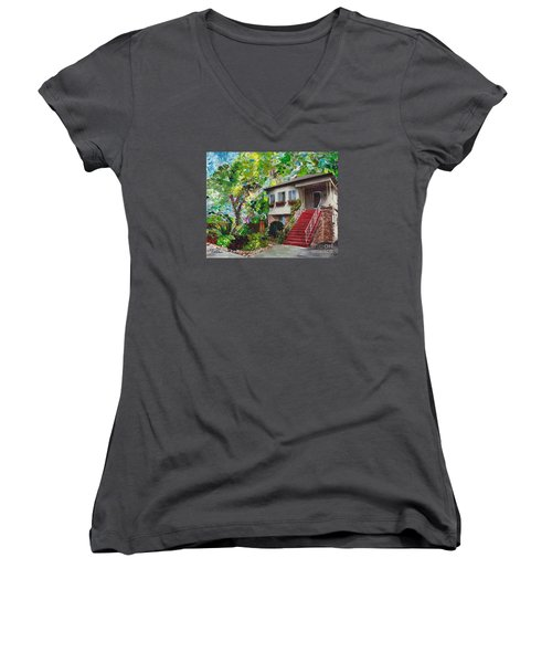 Women's V-Neck T-Shirt (Junior Cut) featuring the painting Alameda 1908 Duplex by Linda Weinstock