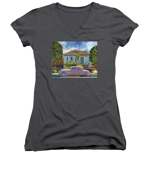 Alameda 1908 House 1950 Pink Dodge Women's V-Neck T-Shirt