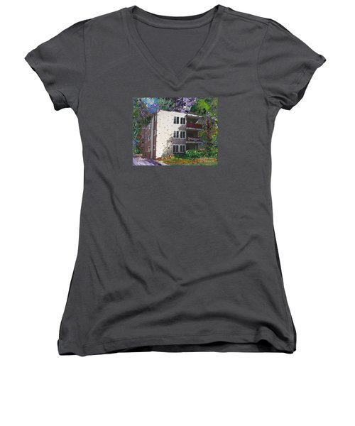 Women's V-Neck T-Shirt (Junior Cut) featuring the painting Alameda 1964 Apartment Architecture   by Linda Weinstock