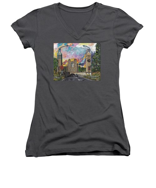 Women's V-Neck T-Shirt (Junior Cut) featuring the painting Alameda Webster Posey Tube Portal 1928 by Linda Weinstock