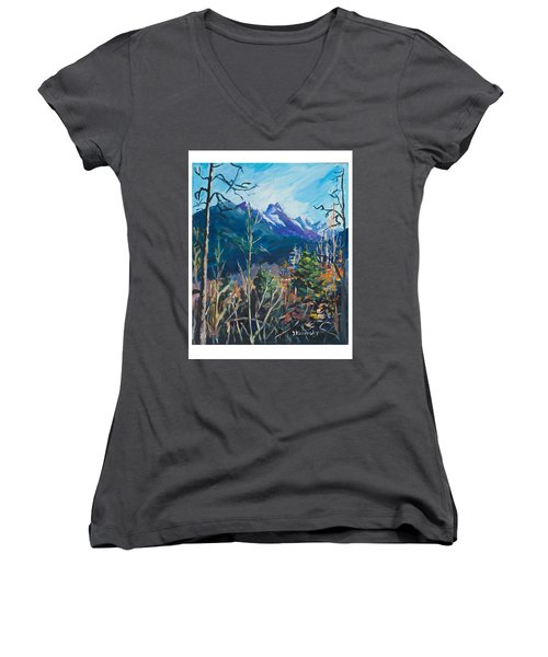 Women's V-Neck T-Shirt (Junior Cut) featuring the painting Alaska Autumn by Yulia Kazansky