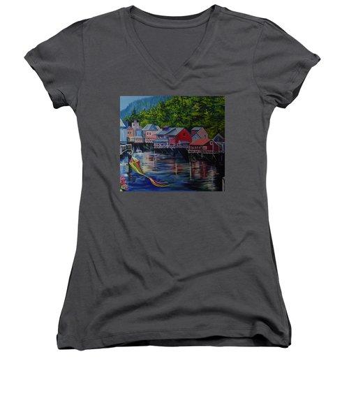 Women's V-Neck T-Shirt (Junior Cut) featuring the painting Alaska. Ketchikan by Anna  Duyunova