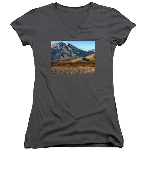 Women's V-Neck T-Shirt (Junior Cut) featuring the photograph Alaska Landscape Scenic Mountains Snow Sky Clouds by Paul Fearn