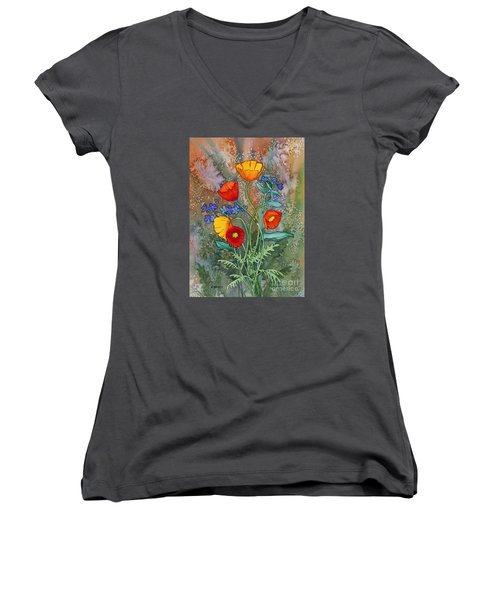 Alaska Poppies And Forgetmenots Women's V-Neck (Athletic Fit)
