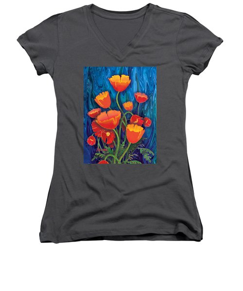 Women's V-Neck T-Shirt (Junior Cut) featuring the mixed media Alaska Poppies by Teresa Ascone