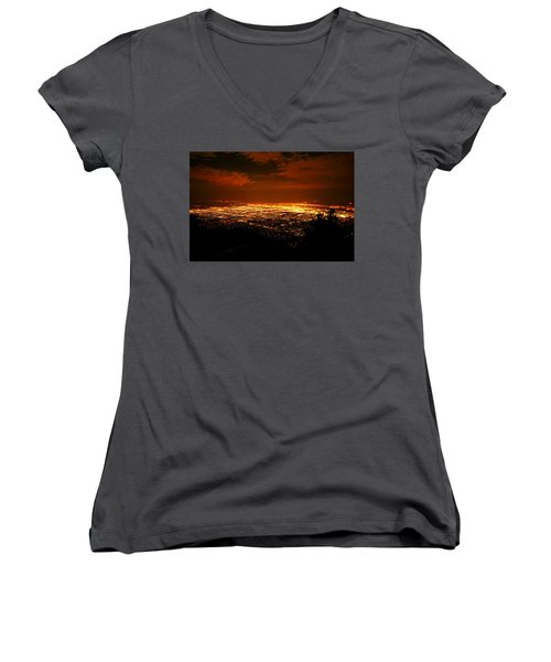 Albuquerque New Mexico  Women's V-Neck T-Shirt (Junior Cut) by Jeff Swan