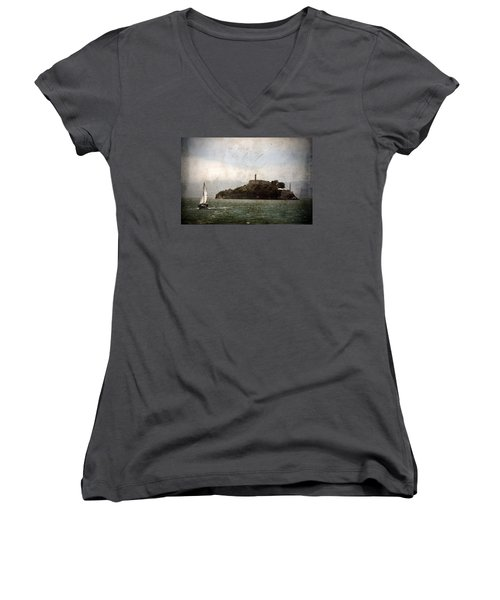 Alcatraz Island Women's V-Neck T-Shirt (Junior Cut) by RicardMN Photography