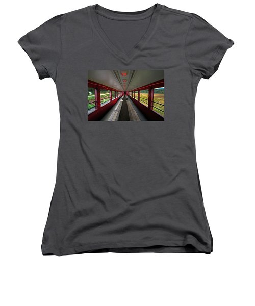 Women's V-Neck T-Shirt (Junior Cut) featuring the photograph All Aboard Tioga Central Railroad by Suzanne Stout