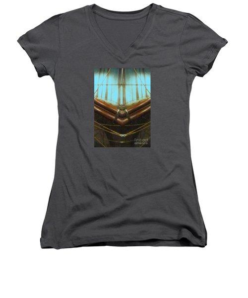 All Fore Naut Women's V-Neck T-Shirt (Junior Cut) by Barbie Corbett-Newmin