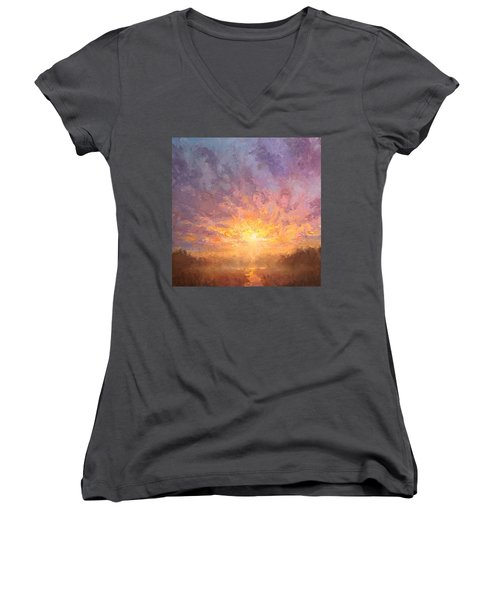 Impressionistic Sunrise Landscape Painting Women's V-Neck