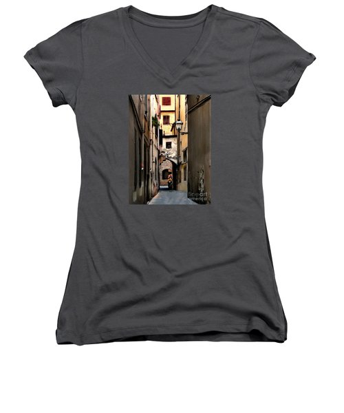 Alley In Florence 1 Women's V-Neck (Athletic Fit)