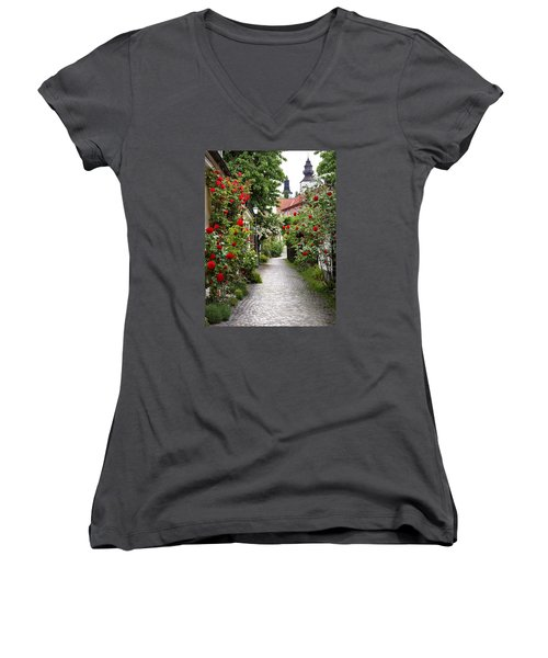 Alley Of Roses Women's V-Neck (Athletic Fit)