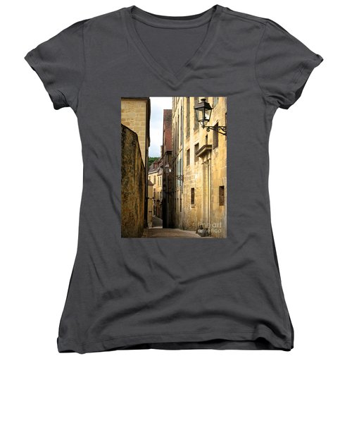 Alleys Of Sarlat Women's V-Neck T-Shirt (Junior Cut) by Suzanne Oesterling