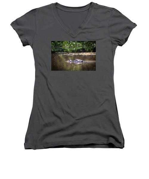 Alligator Swimming In Bayou 1 Women's V-Neck (Athletic Fit)