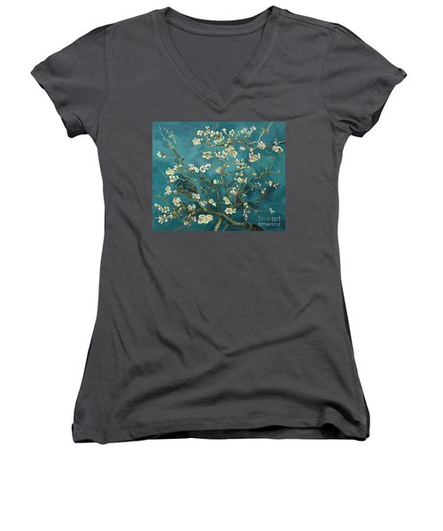 Women's V-Neck T-Shirt (Junior Cut) featuring the painting Almond Blossoms' Reproduction by Tim Gilliland
