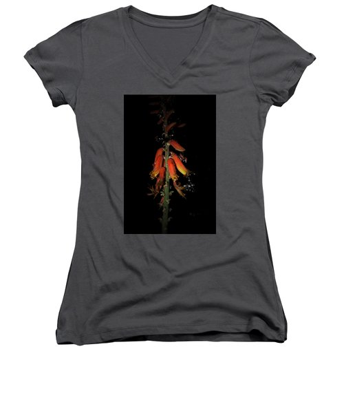 Women's V-Neck T-Shirt (Junior Cut) featuring the photograph Aloe Flower by Leticia Latocki