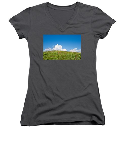 Alpine Meadow And Cloud Formation Women's V-Neck