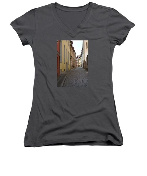 Women's V-Neck T-Shirt (Junior Cut) featuring the photograph Altstadt Nuernberg by Heidi Poulin