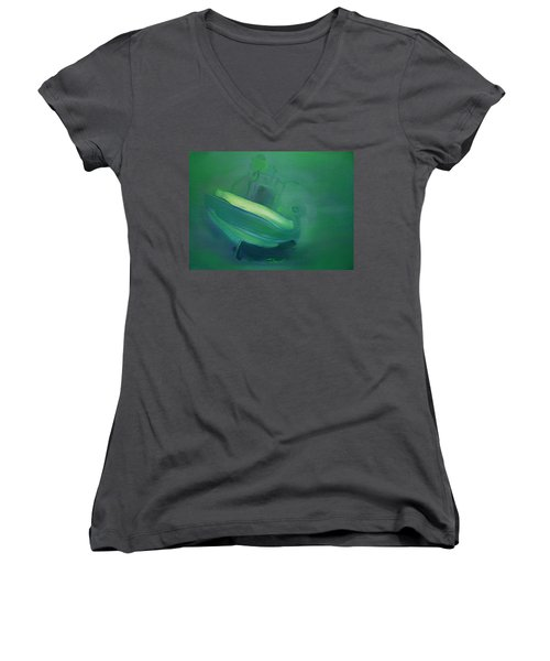 Women's V-Neck T-Shirt (Junior Cut) featuring the painting Alvor Working Boat  by Charles Stuart