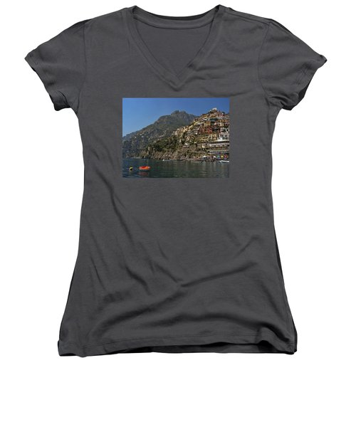 Women's V-Neck T-Shirt (Junior Cut) featuring the photograph Amalfi View by Andrew Soundarajan