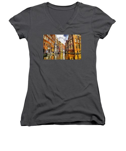 Amasterdam Houses In The Water Women's V-Neck T-Shirt (Junior Cut) by Georgi Dimitrov