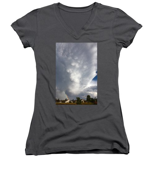 Amazing Storm Clouds Women's V-Neck (Athletic Fit)