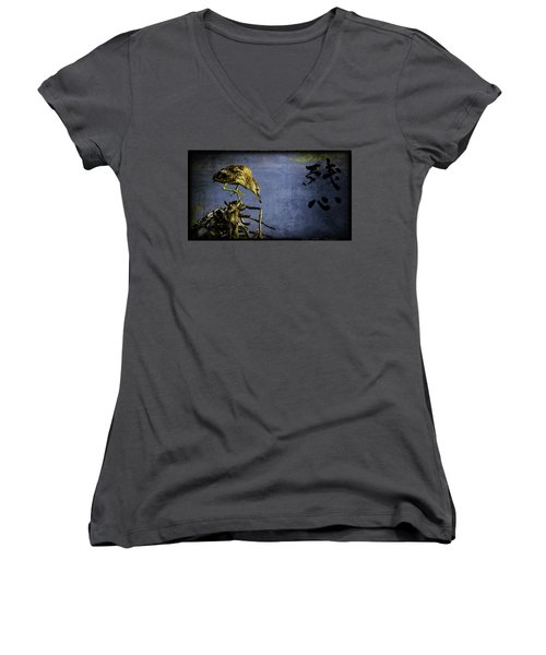Women's V-Neck T-Shirt (Junior Cut) featuring the mixed media American Bittern With Brush Calligraphy Lingering Mind by Peter v Quenter