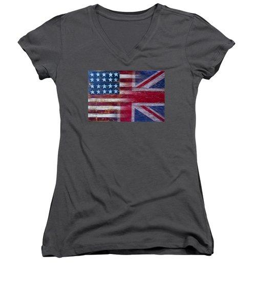 American British Flag 2 Women's V-Neck T-Shirt