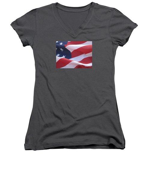 Women's V-Neck T-Shirt (Junior Cut) featuring the photograph American Flag   by Chrisann Ellis
