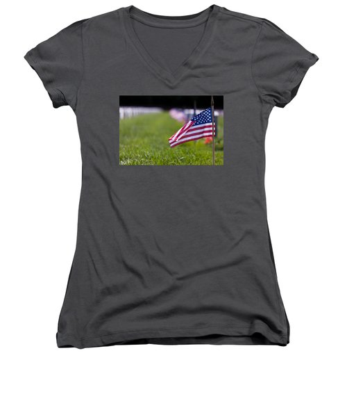 Women's V-Neck T-Shirt (Junior Cut) featuring the photograph American Flag by Jerry Gammon