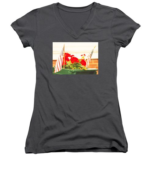Women's V-Neck T-Shirt (Junior Cut) featuring the photograph American Flags And Geraniums In A Wheelbarrow One by Marian Cates