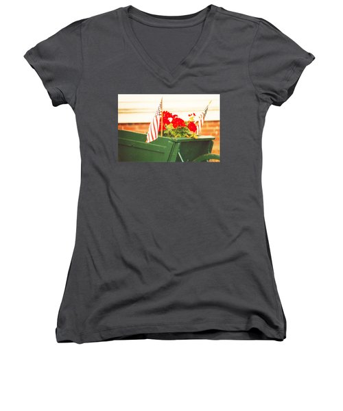 Women's V-Neck T-Shirt (Junior Cut) featuring the photograph American Flags And Geraniums In A Wheelbarrow Two by Marian Cates