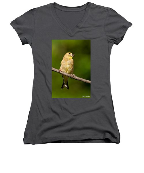 American Goldfinch Singing Women's V-Neck (Athletic Fit)