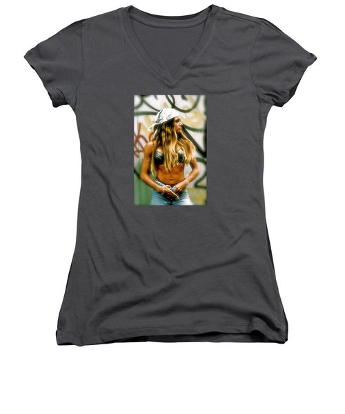 American Grunge  Women's V-Neck T-Shirt (Junior Cut) by Iconic Images Art Gallery David Pucciarelli