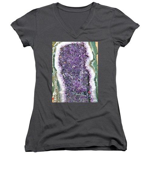 Amethyst Geode Women's V-Neck T-Shirt (Junior Cut) by Tikvah's Hope