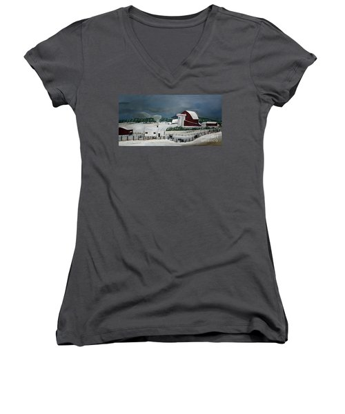 Amish Farm - Winter - Michigan Women's V-Neck (Athletic Fit)