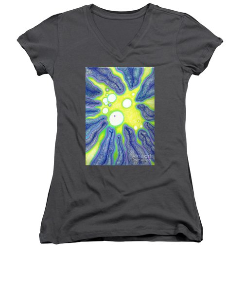 Women's V-Neck T-Shirt (Junior Cut) featuring the painting Amoeba Adolescence  by Carol Jacobs