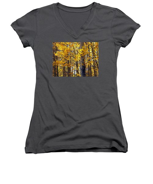 Among The Aspen Trees In Fall Women's V-Neck (Athletic Fit)
