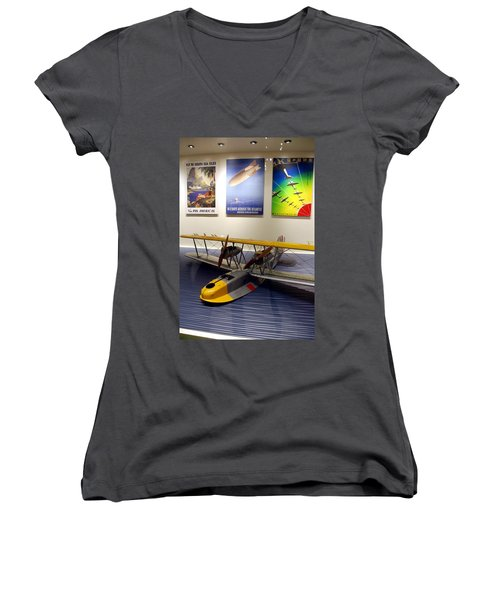 Amphibious Plane And Era Posters Women's V-Neck (Athletic Fit)